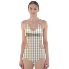Christmas Gold Large Gingham Check Plaid Pattern Cut-Out One Piece Swimsuit