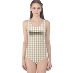 Christmas Gold Large Gingham Check Plaid Pattern One Piece Swimsuit