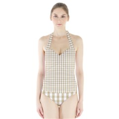Christmas Gold Large Gingham Check Plaid Pattern Halter Swimsuit