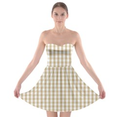 Christmas Gold Large Gingham Check Plaid Pattern Strapless Bra Top Dress