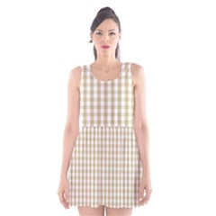 Christmas Gold Large Gingham Check Plaid Pattern Scoop Neck Skater Dress