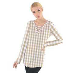 Christmas Gold Large Gingham Check Plaid Pattern Women s Tie Up Tee
