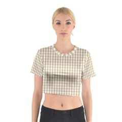 Christmas Gold Large Gingham Check Plaid Pattern Cotton Crop Top