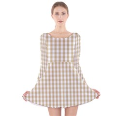Christmas Gold Large Gingham Check Plaid Pattern Long Sleeve Velvet Skater Dress