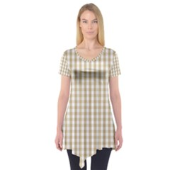 Christmas Gold Large Gingham Check Plaid Pattern Short Sleeve Tunic