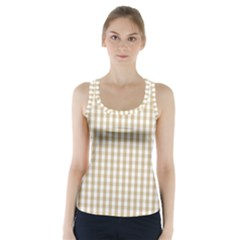 Christmas Gold Large Gingham Check Plaid Pattern Racer Back Sports Top