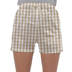 Christmas Gold Large Gingham Check Plaid Pattern Sleepwear Shorts