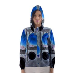 Pumpkins And Gourds Negative Hooded Wind Breaker (Women)