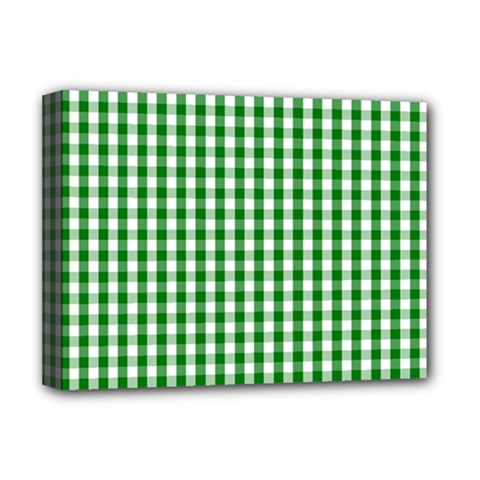 Christmas Green Velvet Large Gingham Check Plaid Pattern Deluxe Canvas 16  x 12