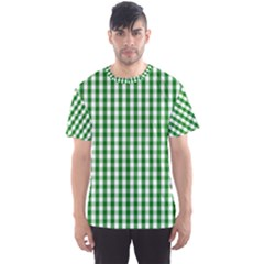 Christmas Green Velvet Large Gingham Check Plaid Pattern Men s Sports Mesh Tee