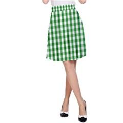 Christmas Green Velvet Large Gingham Check Plaid Pattern A-Line Skirt