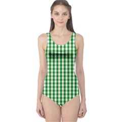Christmas Green Velvet Large Gingham Check Plaid Pattern One Piece Swimsuit