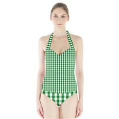 Christmas Green Velvet Large Gingham Check Plaid Pattern Halter Swimsuit