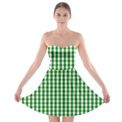 Christmas Green Velvet Large Gingham Check Plaid Pattern Strapless Bra Top Dress