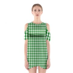 Christmas Green Velvet Large Gingham Check Plaid Pattern Shoulder Cutout One Piece