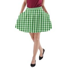 Christmas Green Velvet Large Gingham Check Plaid Pattern A-Line Pocket Skirt