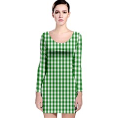 Christmas Green Velvet Large Gingham Check Plaid Pattern Long Sleeve Velvet Bodycon Dress