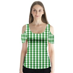 Christmas Green Velvet Large Gingham Check Plaid Pattern Butterfly Sleeve Cutout Tee