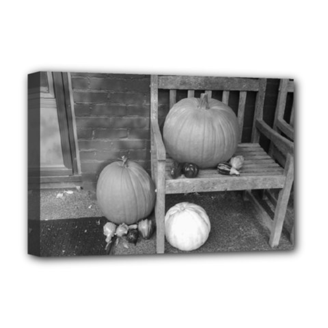 Pumpkind And Gourds Bw Deluxe Canvas 18  x 12