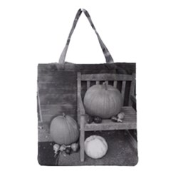 Pumpkind And Gourds Bw Grocery Tote Bag