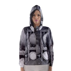 Pumpkind And Gourds Bw Hooded Wind Breaker (Women)