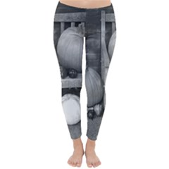 Pumpkind And Gourds Bw Classic Winter Leggings