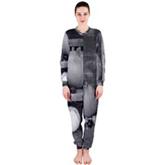 Pumpkind And Gourds Bw OnePiece Jumpsuit (Ladies)