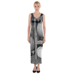 Pumpkind And Gourds Bw Fitted Maxi Dress