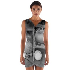 Pumpkind And Gourds Bw Wrap Front Bodycon Dress