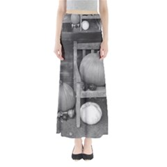Pumpkind And Gourds Bw Full Length Maxi Skirt