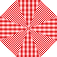 Christmas Red Velvet Large Gingham Check Plaid Pattern Folding Umbrellas