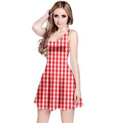 Christmas Red Velvet Large Gingham Check Plaid Pattern Reversible Sleeveless Dress