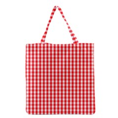 Christmas Red Velvet Large Gingham Check Plaid Pattern Grocery Tote Bag