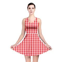 Christmas Red Velvet Large Gingham Check Plaid Pattern Reversible Skater Dress