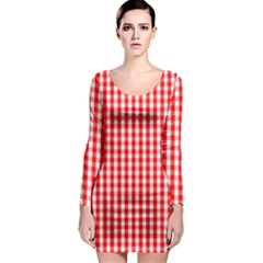 Christmas Red Velvet Large Gingham Check Plaid Pattern Long Sleeve Bodycon Dress