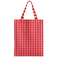 Christmas Red Velvet Large Gingham Check Plaid Pattern Zipper Classic Tote Bag
