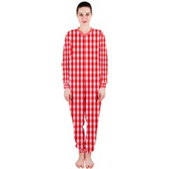 Christmas Red Velvet Large Gingham Check Plaid Pattern Onepiece Jumpsuit (ladies)