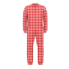 Christmas Red Velvet Large Gingham Check Plaid Pattern OnePiece Jumpsuit (Kids)