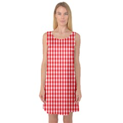 Christmas Red Velvet Large Gingham Check Plaid Pattern Sleeveless Satin Nightdress