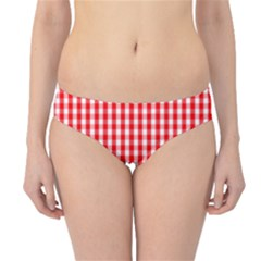 Christmas Red Velvet Large Gingham Check Plaid Pattern Hipster Bikini Bottoms
