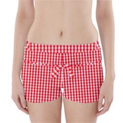 Christmas Red Velvet Large Gingham Check Plaid Pattern Boyleg Bikini Wrap Bottoms