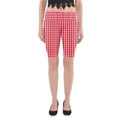 Christmas Red Velvet Large Gingham Check Plaid Pattern Yoga Cropped Leggings