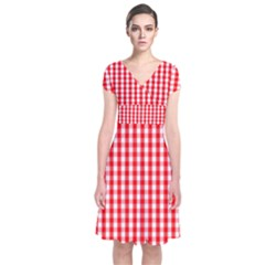 Christmas Red Velvet Large Gingham Check Plaid Pattern Short Sleeve Front Wrap Dress