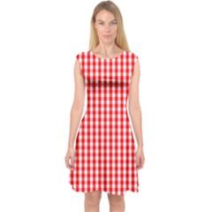 Christmas Red Velvet Large Gingham Check Plaid Pattern Capsleeve Midi Dress