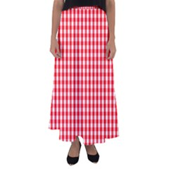 Christmas Red Velvet Large Gingham Check Plaid Pattern Flared Maxi Skirt