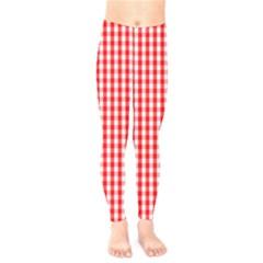 Christmas Red Velvet Large Gingham Check Plaid Pattern Kids  Legging