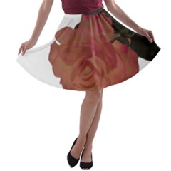 Poppys Last Rose Close Up A-line Skater Skirt