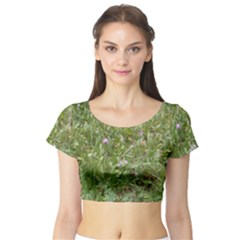 Pink Wildflowers Short Sleeve Crop Top (Tight Fit)
