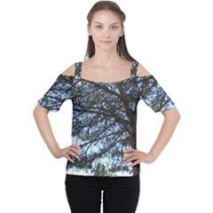 Pine Tree Reaching Women s Cutout Shoulder Tee