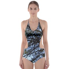 Pine Tree Reaching Cut-Out One Piece Swimsuit